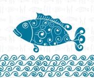 Pocztówkowego Dennego tematu Bezszwowy tło ryba, fala Obrazy Royalty Free