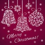 Pocztówkowi Wesoło boże narodzenia! Bożenarodzeniowy dzwon i piłka od kwiecistego royalty ilustracja