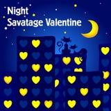 pocztówkowy dzień valentine s Noc kochankowie Koty patrzeje księżyc siedzą na dachu dom royalty ilustracja