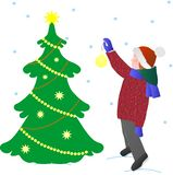 Pocztówkowy dziecko w zim ubraniach dekoruje choinki na białym tle, wektor ilustracji