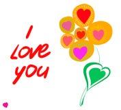 Pocztówkowy kwiat i tekst Obraz Royalty Free