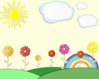 Pocztówkowy lato łąki słońce Ilustracja Wektor