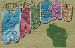 Pocztówkowy malowidło ścienne Wausau, Wisconsin Zdjęcia Stock