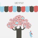 Pocztówkowy szablon z abstrakcjonistycznym drzewem i ptakiem Fotografia Stock