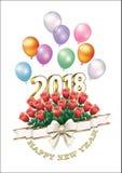 Pocztówkowy Szczęśliwy nowy rok 2018 z bukietem róże Obraz Royalty Free