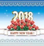 Pocztówkowy Szczęśliwy nowy rok 2018 z bukietem róże Obrazy Royalty Free