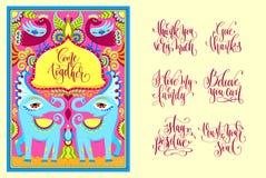 Pocztówkowy twórca - hindus rama z ptakami, słoniami i kwiatem, ilustracja wektor