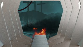 Poczta apokaliptyczna scena ilustracja wektor