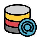 Poczta bazy danych koloru linii ikona ilustracji