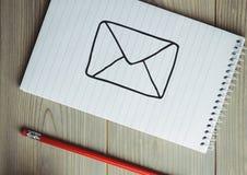 Poczta doodle na notepad z czerwonym ołówkiem Obrazy Stock