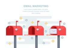 Poczta, email strategii marketingowej biznesu pojęcie Czerwony listowy pudełko z wiadomością w kopercie również zwrócić corel ilu royalty ilustracja
