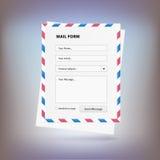 Poczta forma wysyłać wiadomość od miejsca Obraz Royalty Free