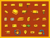 27 poczta ikon - ręka rysująca coloured wektorowe grafika ilustracji