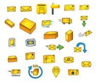 27 poczta ikon - ręki rysować wektorowe grafika ilustracji