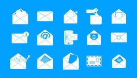 Poczta ikony błękitny ustalony wektor ilustracja wektor