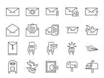 Poczta ikony kreskowy set Zawierać ikony jako email, gołąbka, koperta, wysyłali, poczty pudełko i bardziej royalty ilustracja