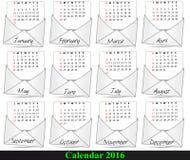 2016 poczta kalendarz Zdjęcia Stock
