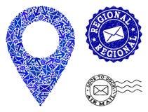 Poczta Komunikacyjny kolaż mozaiki mapy Grunge i markiera Lokalni znaczki ilustracja wektor