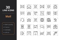 30 poczta Kreskowych ikon royalty ilustracja