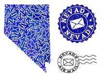 Poczta ruchu drogowego kola? mozaiki mapa Nevada stan i Textured znaczki ilustracja wektor