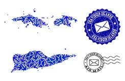 Poczta ruchu kola? mozaiki mapa Ameryka?skie Dziewicze wyspy i Grunge znaczki ilustracji