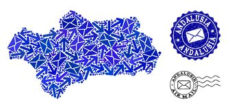 Poczta ruchu kola? mozaiki mapa Andalusia prowincja i Textured znaczki ilustracji