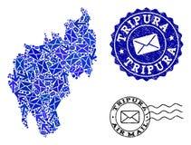 Poczta ruchu kolaż mozaiki mapa Tripura cierpienia i stanu foki royalty ilustracja