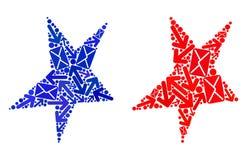 Poczta ruchu kolażu Asymmetrical Gwiazdowe ikony royalty ilustracja