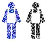 Poczta ruchu mozaiki pracownika osoby ikony royalty ilustracja