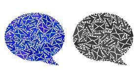Poczta ruchu mozaiki wiadomości chmury ikony ilustracja wektor
