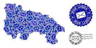 Poczta ruchu skład mozaiki mapa Hiszpania los angeles Rioja i Grunge foki - ilustracji