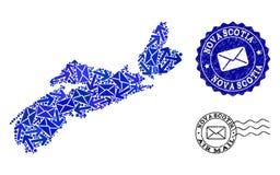 Poczta ruchu sk?ad mozaiki mapa nowa Scotia cierpienia i prowincji foki royalty ilustracja