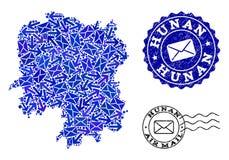 Poczta ruchu sk?ad mozaiki mapa prowincja hunan i Textured znaczki ilustracja wektor