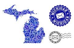 Poczta ruchu skład mozaiki mapa stan michigan i Drapający znaczki ilustracji