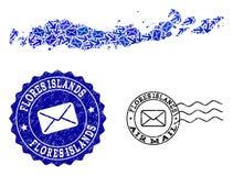 Poczta Wysy?a kola? mozaiki mapa wyspy i cierpienie znaczki Indonezja, Flores - ilustracja wektor
