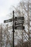 Poczta z kierunkami różni miasta Obraz Stock