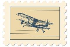 Poczta znaczek, biplan royalty ilustracja