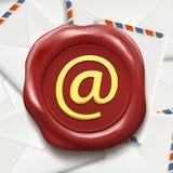 Pocztowe koperty Emaila znak na wosk foce akcyjny illu Zdjęcia Royalty Free