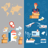 Pocztowej dostawy urzędu pocztowego sztandary Obraz Stock