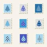 Pocztowi znaczków drzewa ustawiający. ilustracja wektor