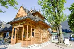 Pocztowka, μικρό ξύλινο σπίτι σε Zakopane Στοκ Εικόνα