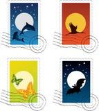 pocztowy znaczek royalty ilustracja