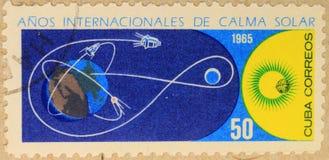 Pocztowy znaczek Kuba, dedykował rok Spokojny słońce zdjęcia royalty free
