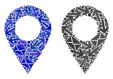Poczty mozaiki mapy markiera Komunikacyjne ikony ilustracji