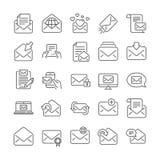 Poczty wiadomości linii ikony Set gazetka, email, korespondencja wektor royalty ilustracja