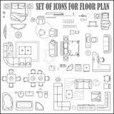 Podłogowego planu ikony ustawiać dla projekta wnętrza i architektonicznego projekta przeglądają z góry Meble cienka kreskowa ikon ilustracja wektor