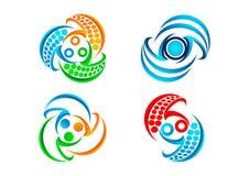 Podłączeniowy logo, balansowa komunikacyjna ikona, nowożytny technologia symbol i pracy zespołowej pojęcia projekt, Fotografia Stock