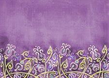 Podławy fiołkowy tło z abstraktem kwitnie na wzgórzu Zdjęcie Stock