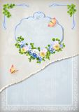 Podławy modny rocznik poślubia kwiecistego zaproszenie Obrazy Stock