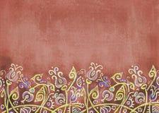 Podławy terakotowy tło z fantastycznymi kwiatami na wzgórzu Zdjęcie Royalty Free